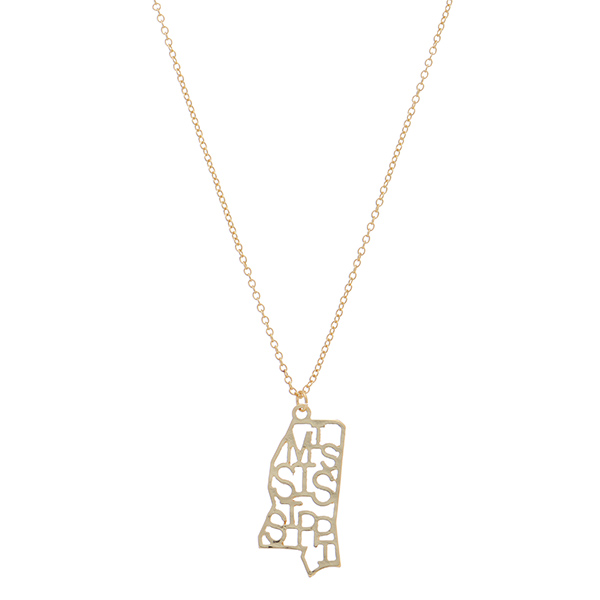 Wholesale gold necklace Mississippi state pendant