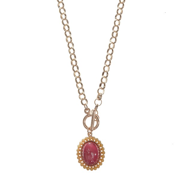 Wholesale gold chain link toggle necklace FSU colored pendant