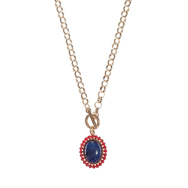Wholesale gold chain link toggle necklace Ole Miss colored pendant