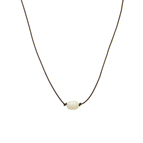 Wholesale brown necklace cord faux freshwater ivory pearl accent