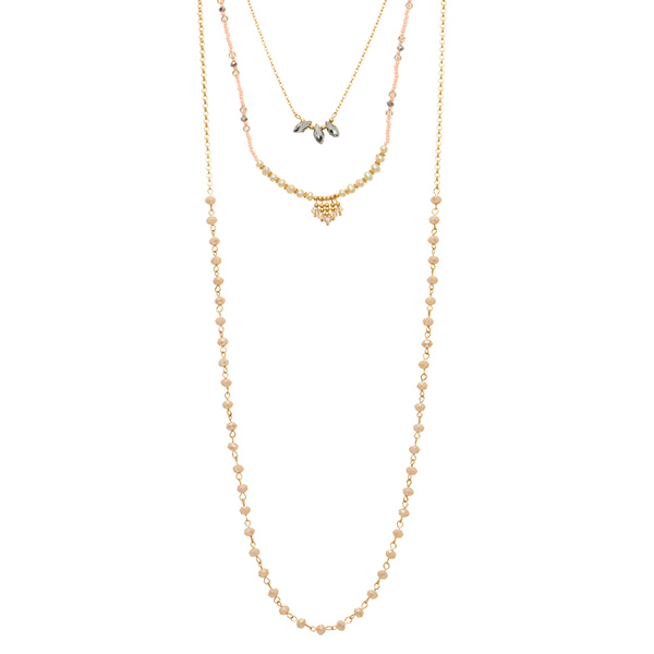 Wholesale gold layering necklace pink seed beads gray bead accents faux ivory pe