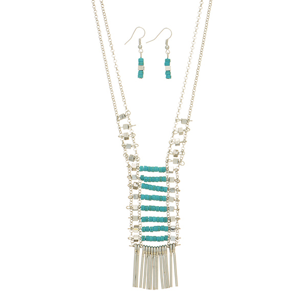 Wholesale silver double strand necklace set metal turquoise beads metal fringe