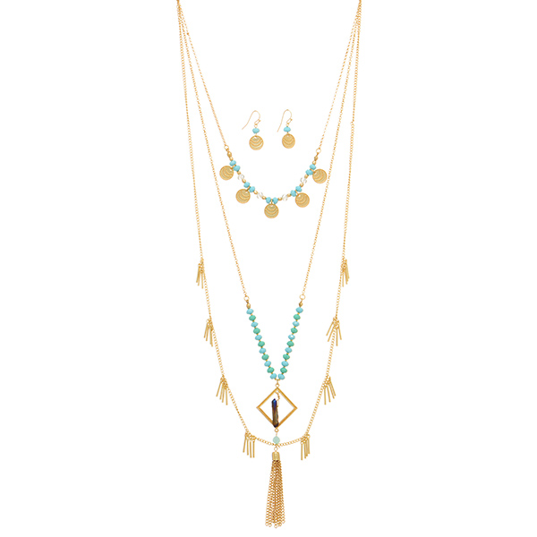 Wholesale gold layering necklace set turquoise mint green beads metal disk hangi