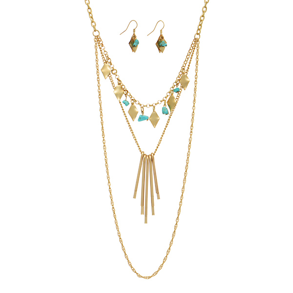 Wholesale gold layering necklace set turquoise chipstone metal sticks