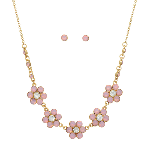 Wholesale gold necklace set pink opal floral castings