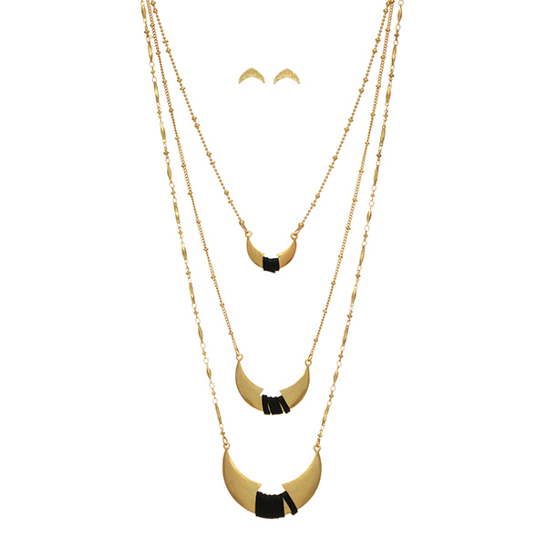 Wholesale gold layering necklace set three crescents wrapped black faux leather