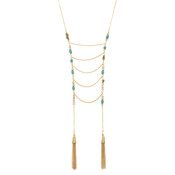 Wholesale gold necklace turquoise pyrite natural stones metal drapes tassels