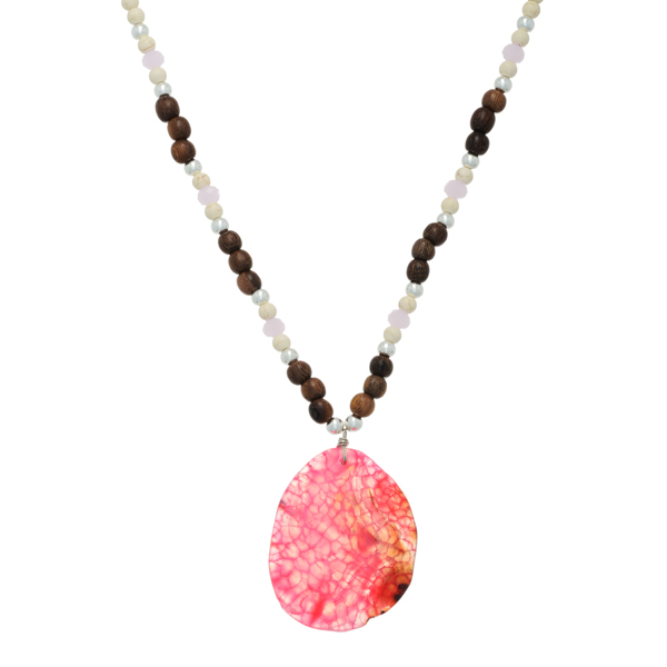 Wholesale ivory brown wooden bead necklace large pink natural stone pendant Hand
