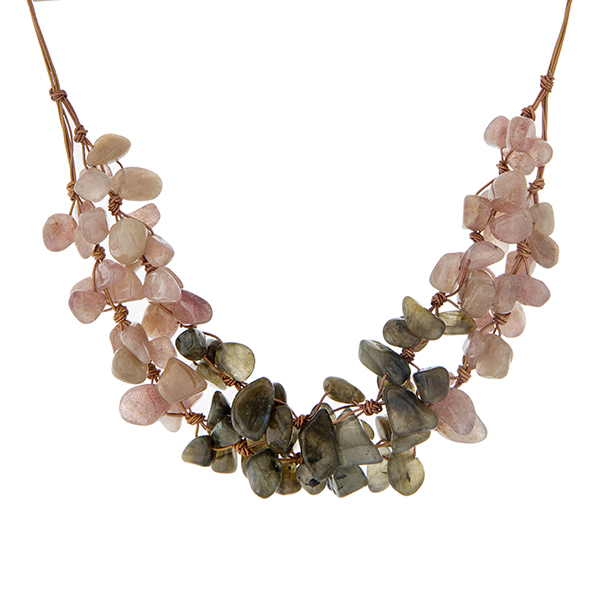 Wholesale brown cord necklace cluster pale pink hunter green natural chipstone H