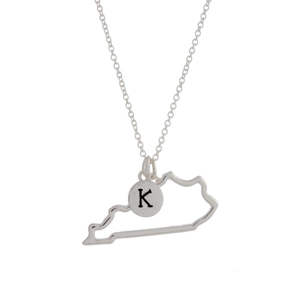 Wholesale silver necklace cutout state Kentucky pendant K charm