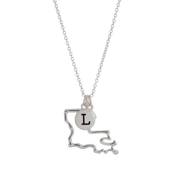 Wholesale silver necklace cutout state Louisiana pendant L charm