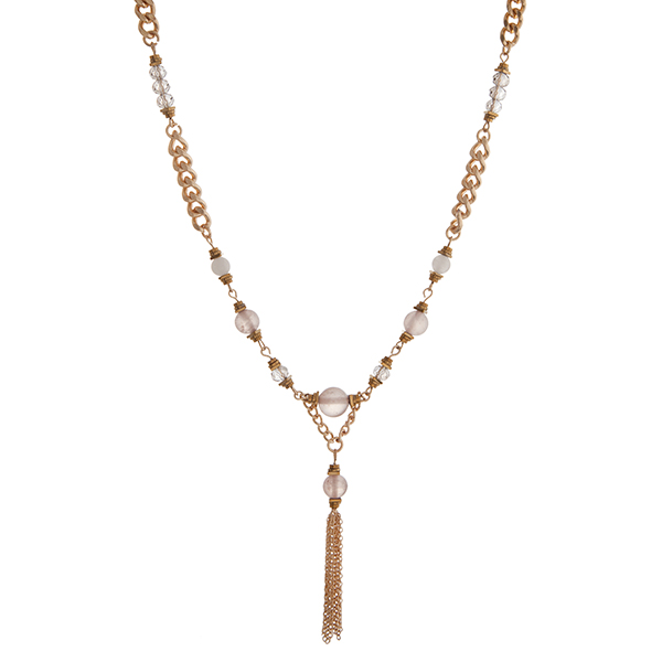 Wholesale gold chain link necklace displaying gray beads chain tassel