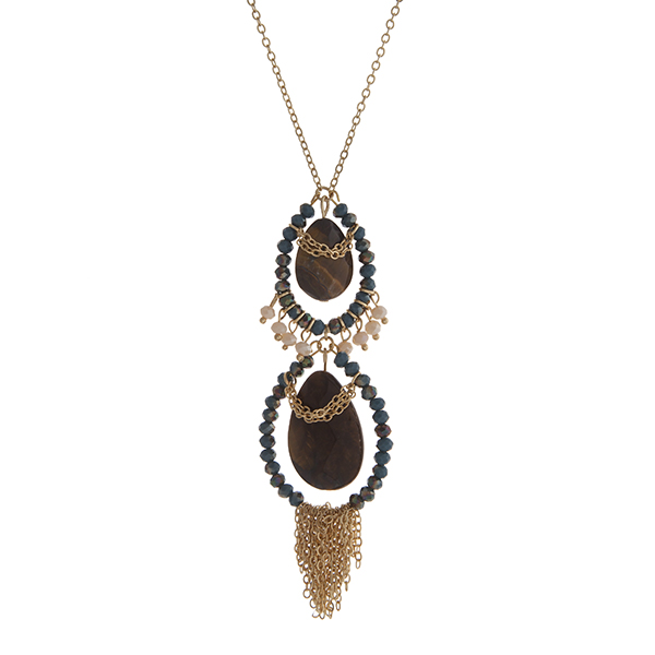 Wholesale gold necklace displaying two tiger eye teardrop stones teal beads chai