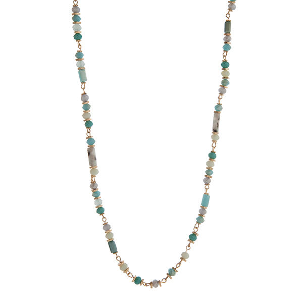 Wholesale turquoise mint gray beaded necklace gold disk accents