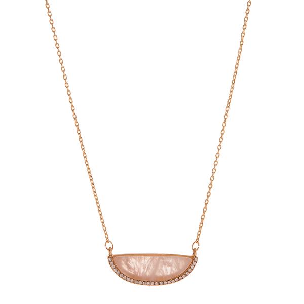 Wholesale gold necklace displaying rose quartz semicircle stone rhinestone accen