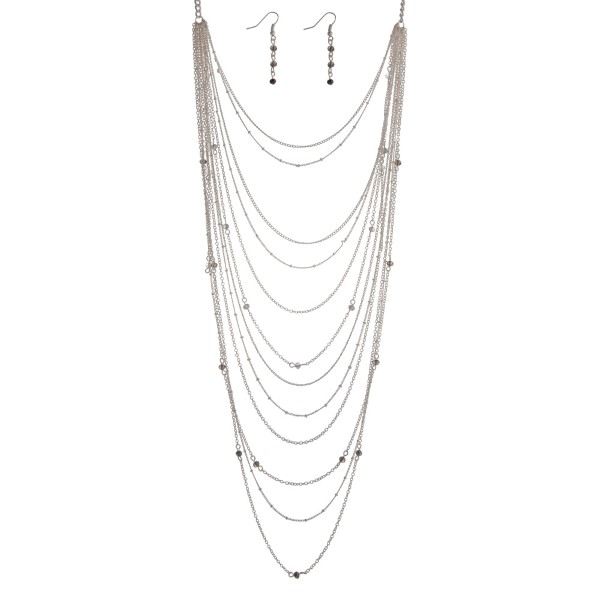 Wholesale matte silver layering necklace set gray bead accents