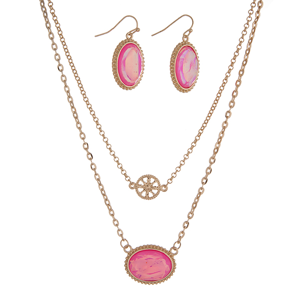 Wholesale gold necklace set hot pink oval pendant matching earrings