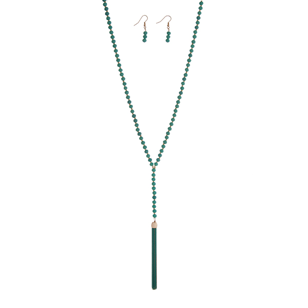 Wholesale turquoise beaded necklace set chain tassel