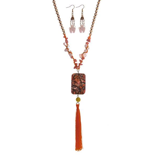 Wholesale tan beaded necklace set pink coral chip stones orange square stone pe