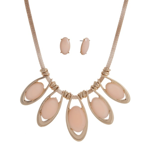 Wholesale gold necklace set five oval pink cabochons