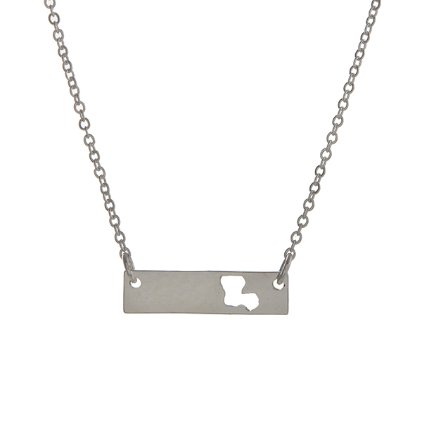 Wholesale dainty silver bar necklace cutout state Louisiana