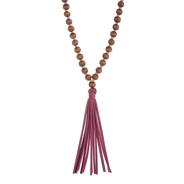 Wholesale brown wood bead necklace pink faux leather tassel