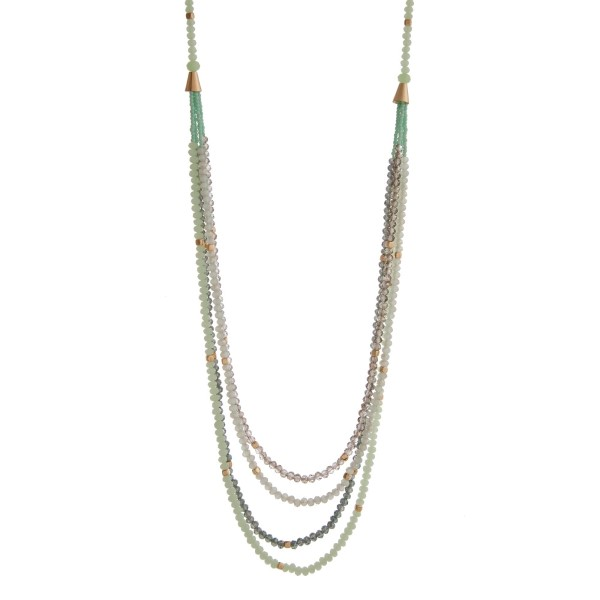 Wholesale gold necklace displaying rows layered mint gray beads