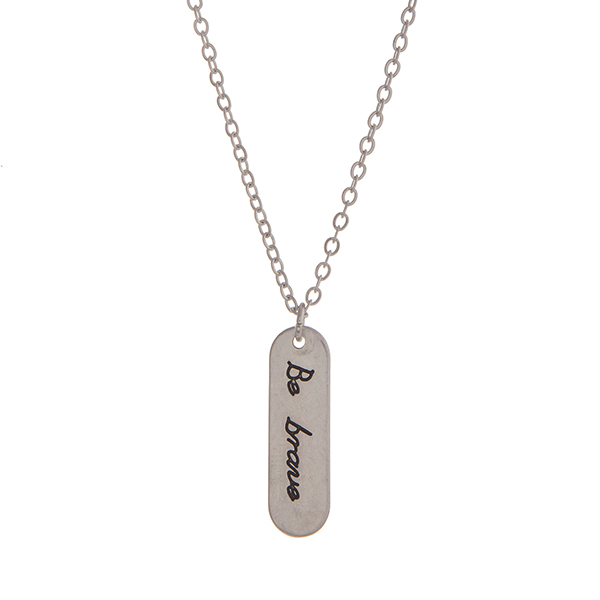 Wholesale silver necklace displaying plate stamped Be brave