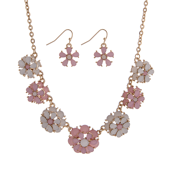Wholesale gold necklace set displaying pink white layered flowers