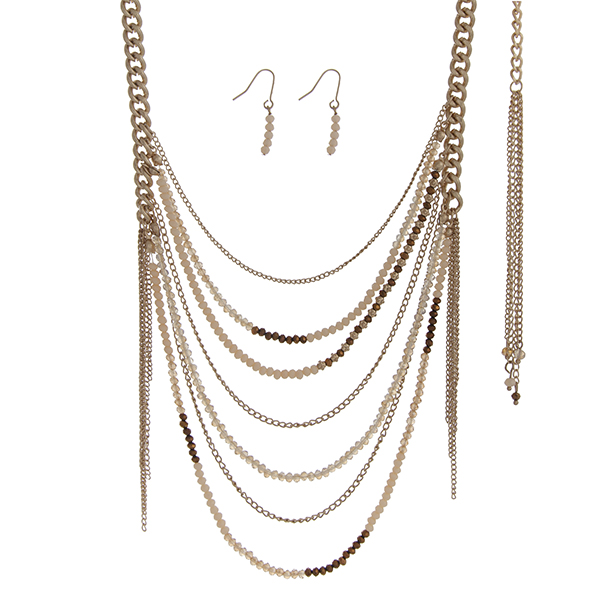 Wholesale gold necklace set ivory brown beaded chains