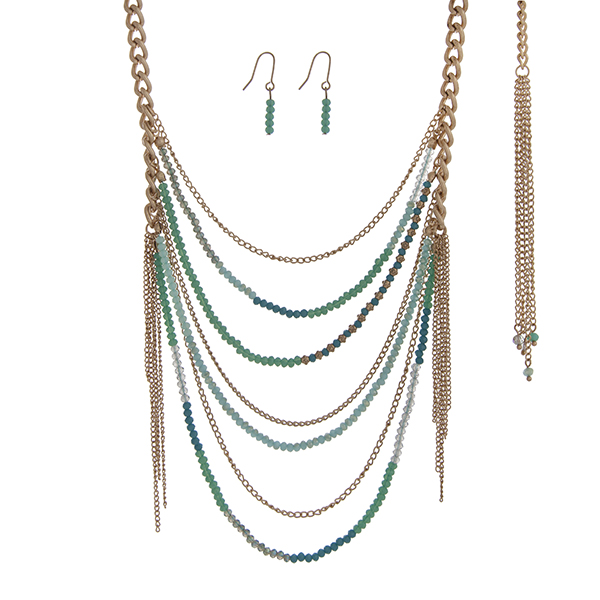 Wholesale gold necklace set turquoise mint green beaded chains