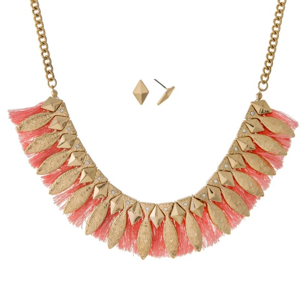 Wholesale gold necklace set Aztec peach fringe