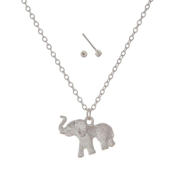 Wholesale dainty silver necklace set elephant pendant