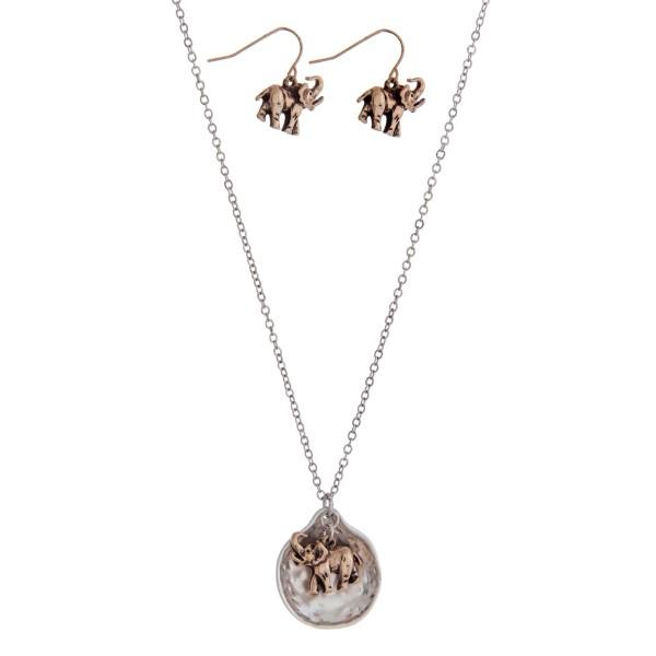 Wholesale silver necklace set two elephant pendant
