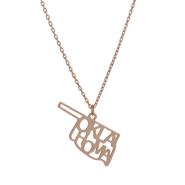 Wholesale dainty gold necklace state Oklahoma pendant