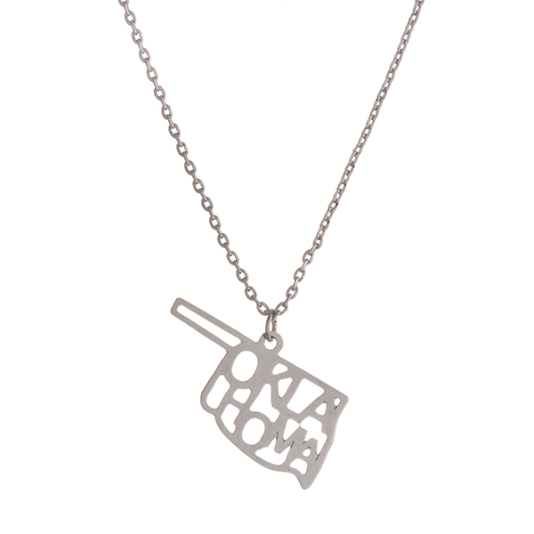 Wholesale dainty silver necklace state Oklahoma pendant