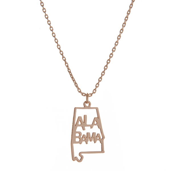 Wholesale dainty gold necklace state Alabama pendant