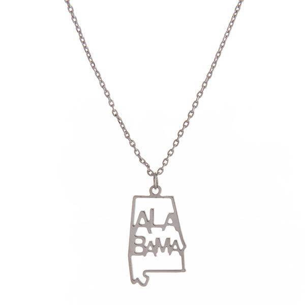 Wholesale dainty silver necklace state Alabama pendant