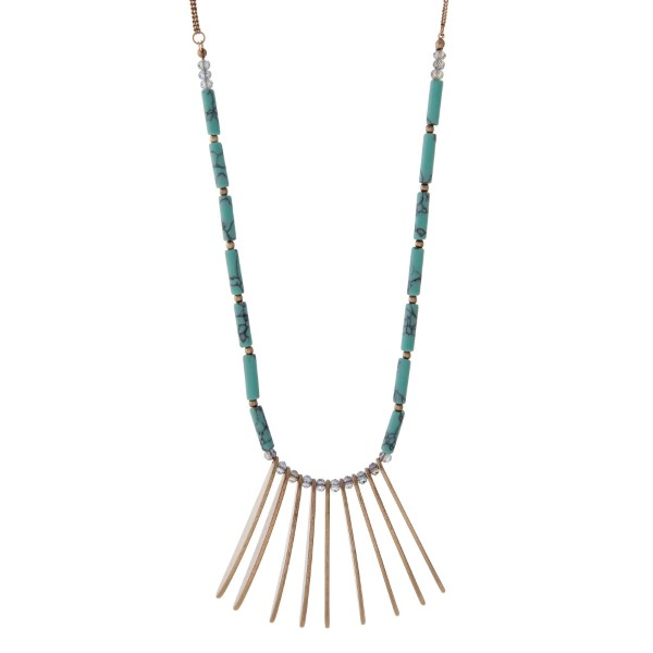 Wholesale gold necklace metal fringe turquoise iridescent beads