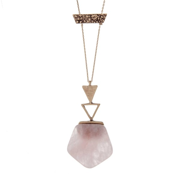 Wholesale dainty gold necklace rose quartz natural stone hexagon pendant burnish