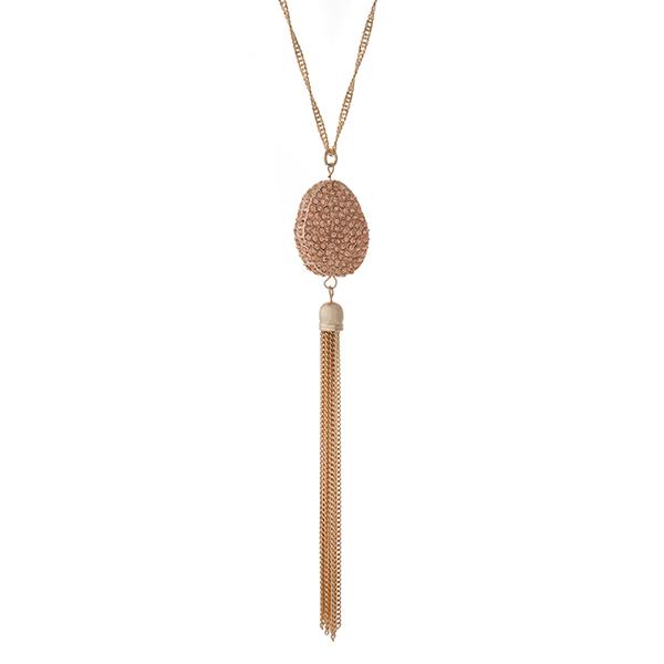 Wholesale gold necklace peach pave rhinestone pendant metal tassel