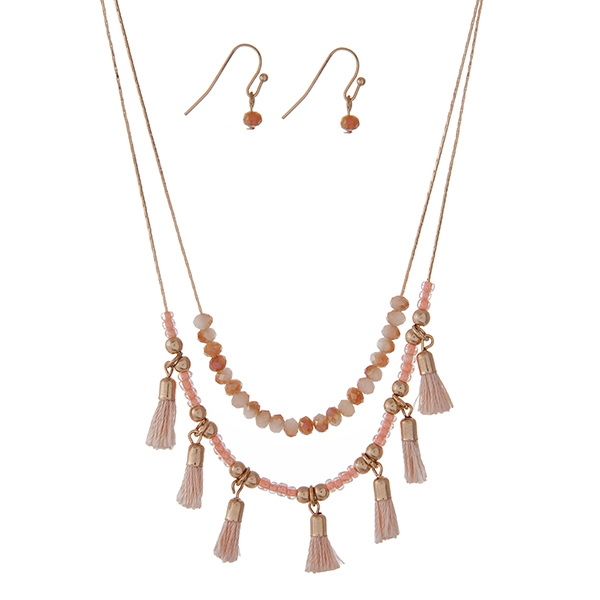 Wholesale dainty gold double layer necklace set peach beads small blue tassels