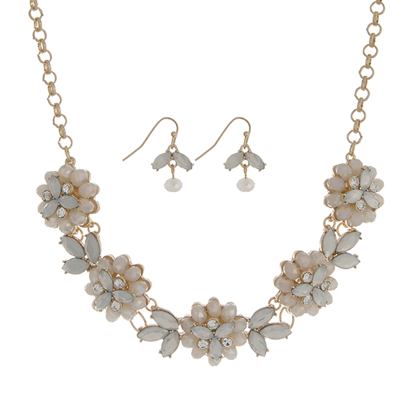 Wholesale gold necklace set five white opal glass stone flowers clear rhinestone