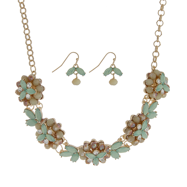 Wholesale gold necklace set five mint green glass stone flowers clear rhinestone