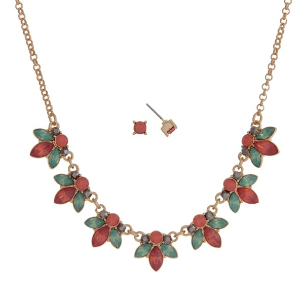 Wholesale gold necklace set mint green coral flowers rhinestone accents
