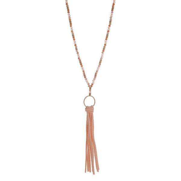 Wholesale gold necklace displaying champagne beads peach fabric tassel