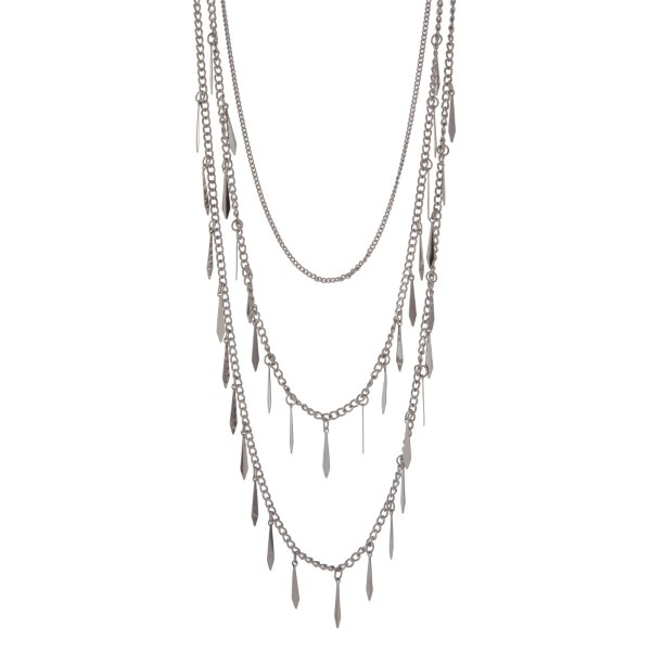 Wholesale silver multi layer necklace metal fringe