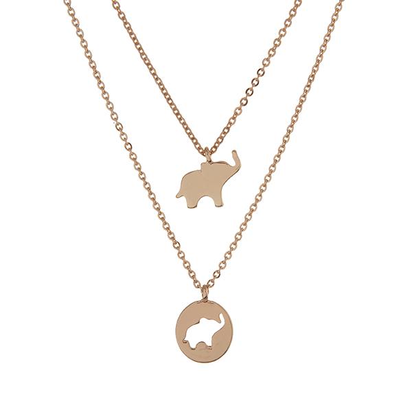 Wholesale gold double layer necklace elephant pendants
