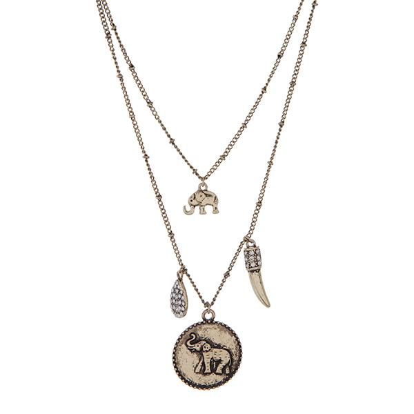 Wholesale burnished gold double layer necklace elephant clear rhinestones