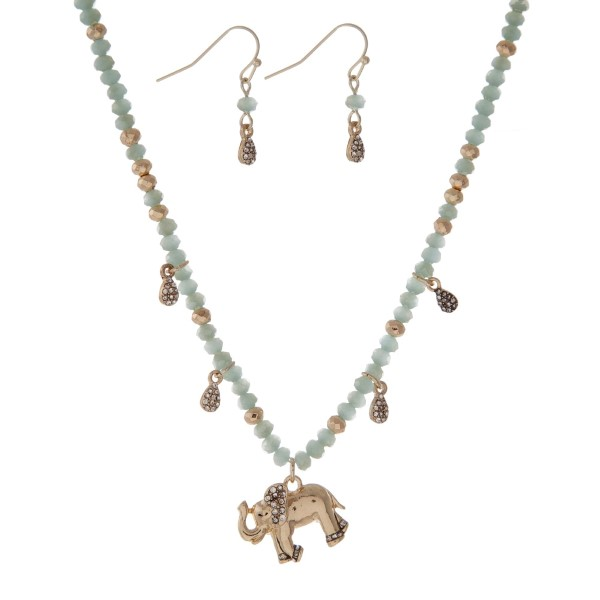Wholesale gold necklace set gray beads elephant pendant